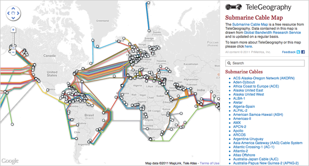 submarine cable network map